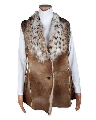 Hoss Couture - Shearling Vest with Bobcat Trim