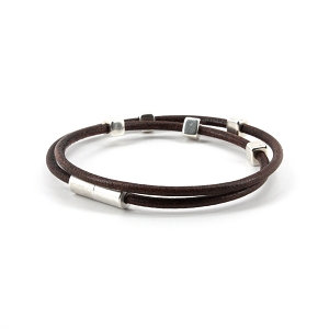 Torino - Braided Leather Double Wrap Bracelet Brown