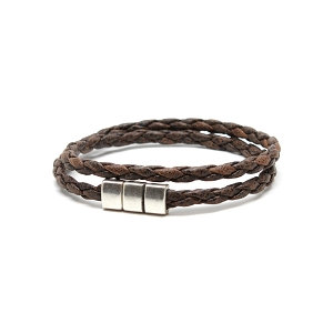 Torino Leather - Vintage Braided Double Wrap Bracelet Brown