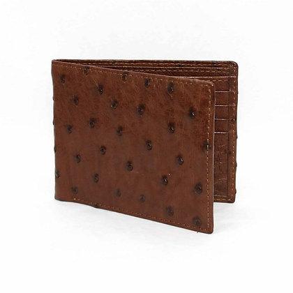 Torino Leather - Genuine Ostrich Billfold Wallet - Brown