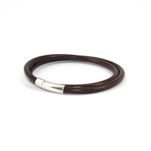 Torino Leather - The Orbit Double Wrap Leather Bracelet Brown