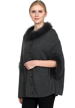 Belle Fare - Wool Blend Poncho with Fox Collar and Cuff
