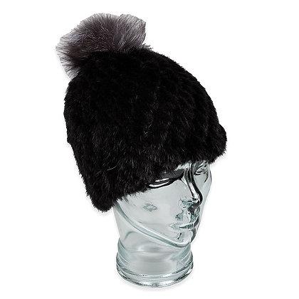 Chosen Furs - Woven Mink Hat w Silver Fox Pom