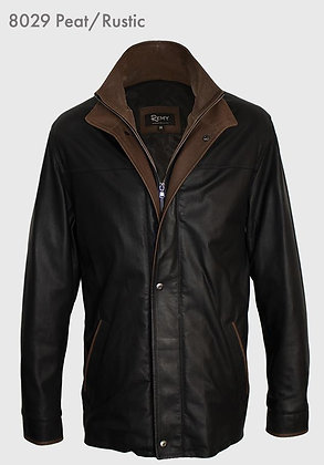 Remy Leather- Men's Leather Double Collar 3/4 Length Coat