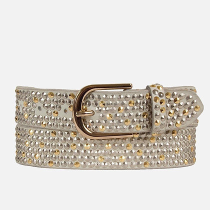 """Amsterdam Heritage - """"Zina"""" Women's Studded Belt with Gold Buckle"""