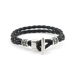 Torino Leather -  The Phoenix Braided Bracelet Black
