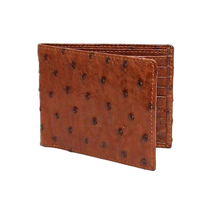 Torino Leather - Full Quill Ostrich Wallet Saddle