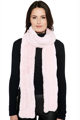 Belle Fare - Long Knitted Rex Rabbit Scarf
