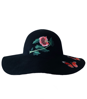 Dorfman - Floral Applique Wool Felt Floppy Hat