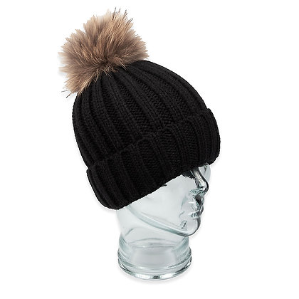 Chosen Furs - Knit Beanie with Fur Pom