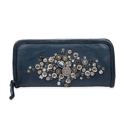 Campomaggi -  Bella Di Notte Wallet with Studs + Blue Strass