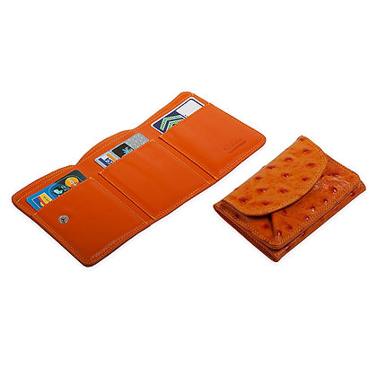 Antonini  - Italian Compact Tri-Fold Wallet with Embossed Ostrich