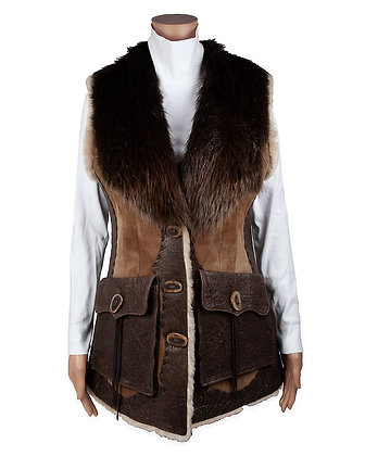Hoss Couture -  Shearling Vest with Leather Inlay