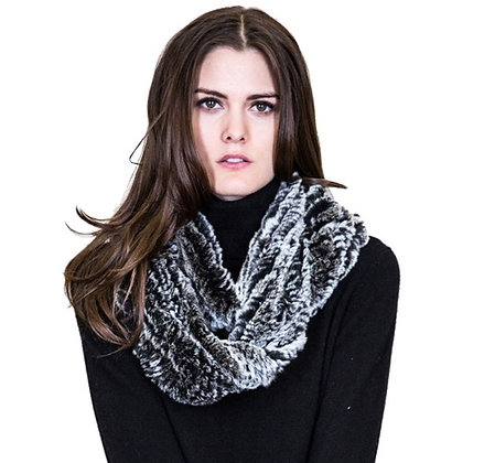 Belle Fare - Knitted Rex Rabbit Infinity Scarf