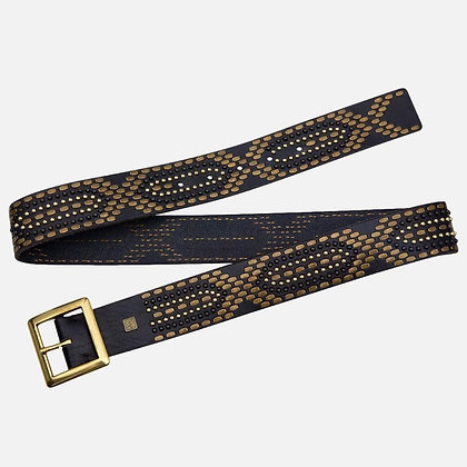 """Amsterdam Heritage - """"Daya"""" Women's Studded Belt with Square Buckle"""