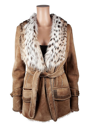 Hoss Couture- Shearling Jacket with Bobcat Trim