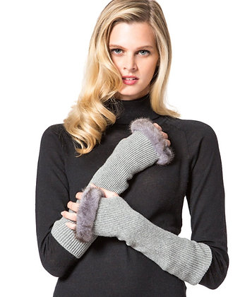 Belle Fare - Knitted Cashmere Fingerless Gloves with Mink Trim