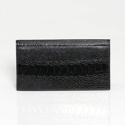 Kulu - Womens Ostrich Shin Wallet Black