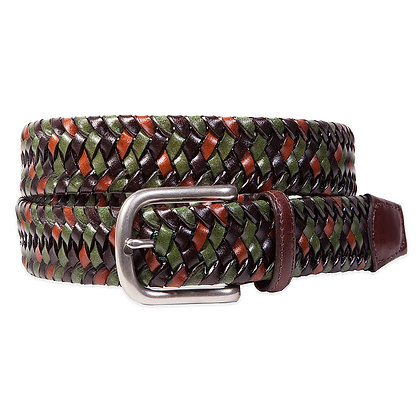 Torino - Green Multi Stretch Woven Leather Belt