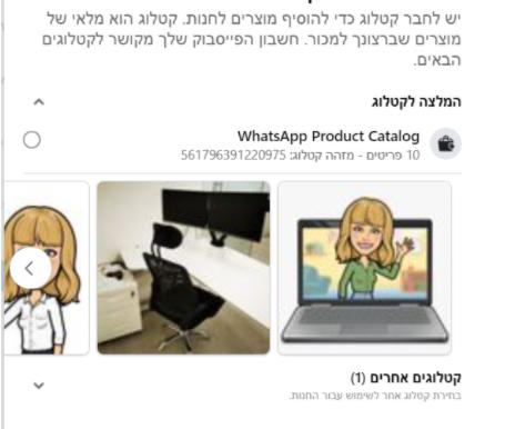 סנכרון הקטלוג בוואטסאפ העסקי עם העמוד העסקי בפייסבוק