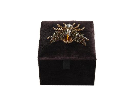 Samtbox klein gold grüner Biene