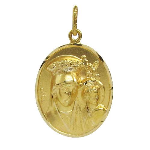Medalla Oro 14k Religiosa Virgen Con Niño Bautizo