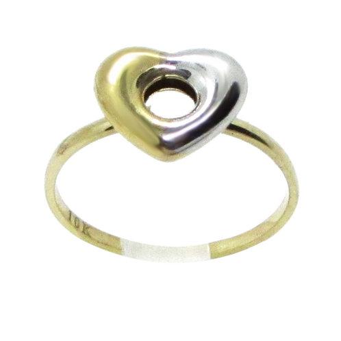 Anillo Oro 10k Corazón Bicolor