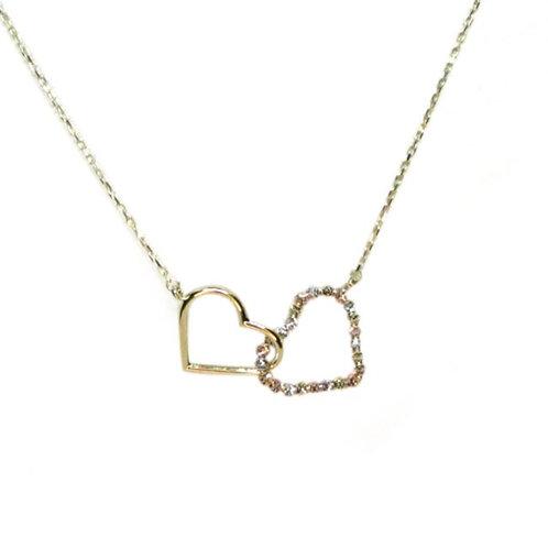 Gargantilla Oro 10k Doble Corazón