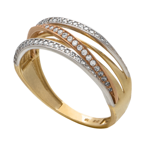 Anillo Oro 14k Churumbela Zirconias Modelo AND0107A