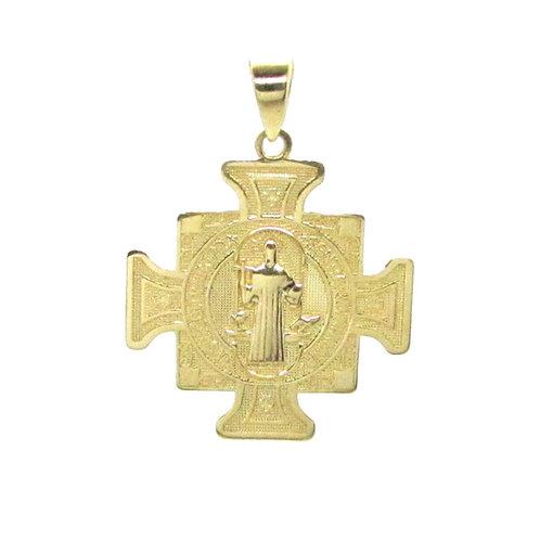 Medalla Oro 10k Cuadrada San Benito