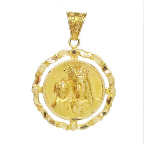 Medalla Oro 14k Religiosa Virgen Con Niño Bautizo Grande