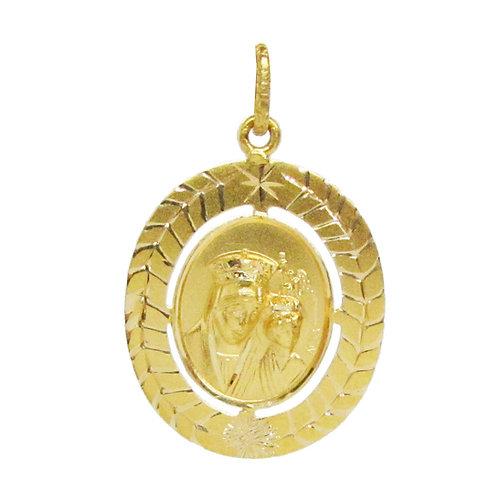 Medalla Oro 14k Religiosa Virgen Con Niño Bautizo Mediana