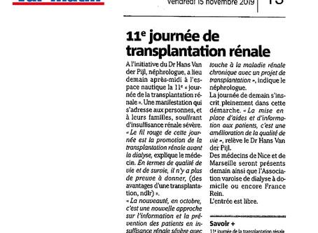 Rendez-vous demain à Hyères avec l'AVODD pour la 11ème journée varoise de transplantation rénale