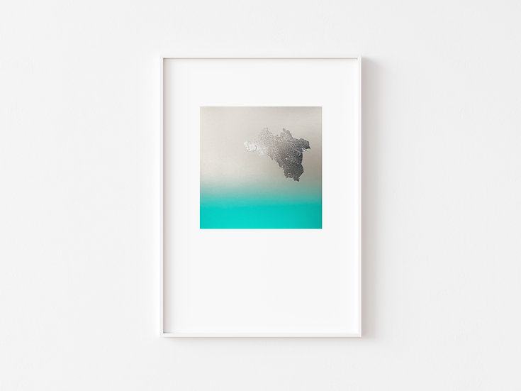 Turquoise/Silver&Silver foil Degrade Silkscreen Print