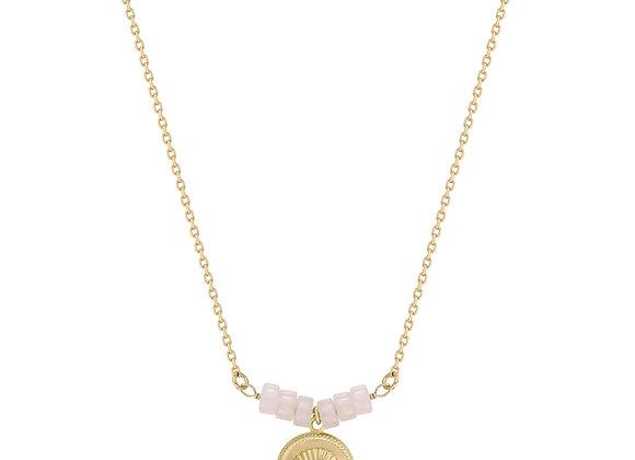 Collier Perle quartz rose
