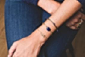 Bracelet Burgos blanc + Jonc Kendo bleu
