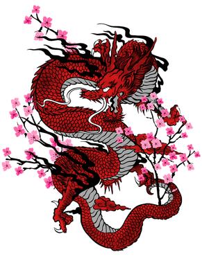 Dragon in Sakuras (Red).png
