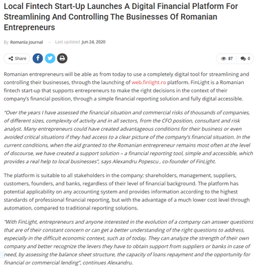Press release on The Romania Journal