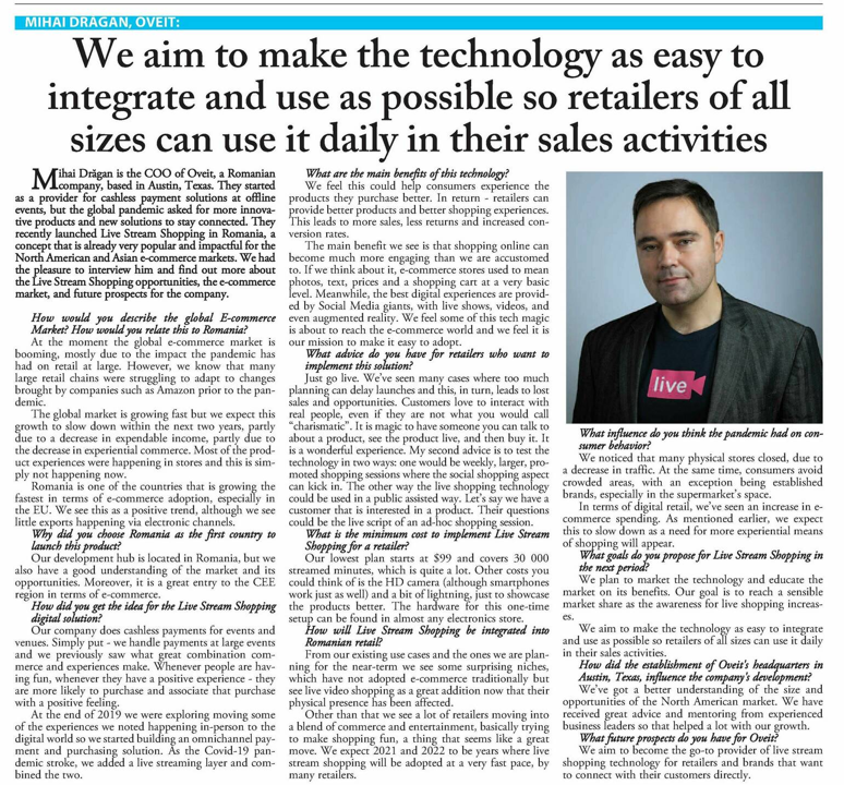 Interview with Mihai Dragan from Oveit, in Nine o'Clock print edition