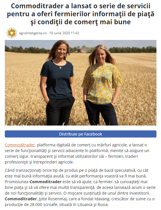 Online Clipping from an advertorial for Commoditrader, in Agrointeligenta