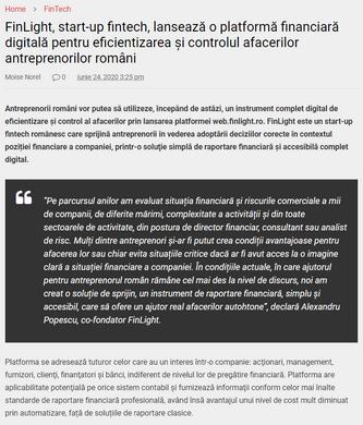 Press release on Piata Financiara