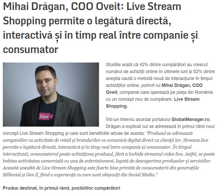 interviu Mihai Dragan, Oveit, in Global Manager