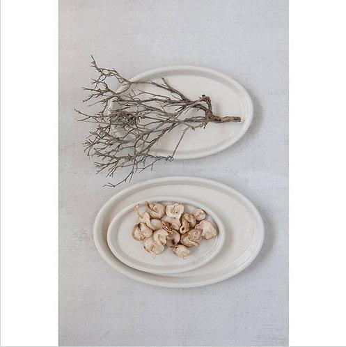 Vintage Stoneware Plates, Antique White, Set of 3