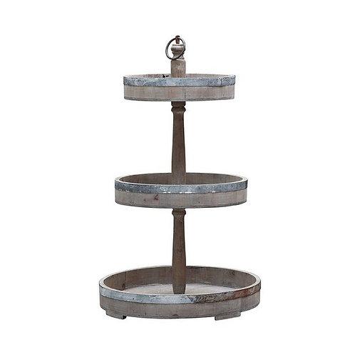Decorative Wood & Metal 3-Tier Tray
