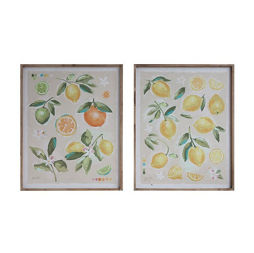 Citrus Fruit Wood Framed Canvas - Set of 2