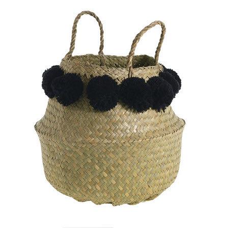 Pom Puff Basket - Natural