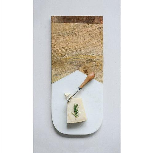 Marble & Mango Wood Cutting Board w/ Canape Knife
