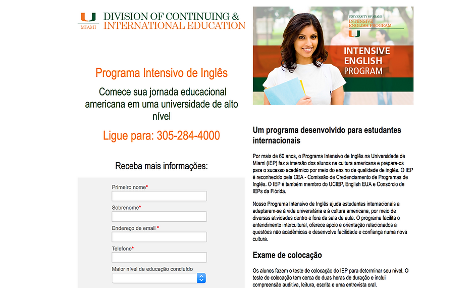 University of Miami Portuguese Programa Intesivo de inglês