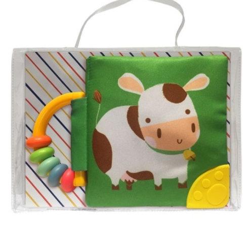 Mi libro suave con sonajero y mordillo: Vaca