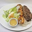 Boeuf et crevettes grillés / Grilled beef & shrimps